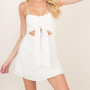 White Mini Tie Front Dress
